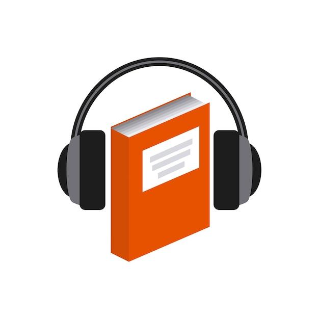 Icona libro e cuffia. design di audiolibri. grafica vettoriale Vettore Premium