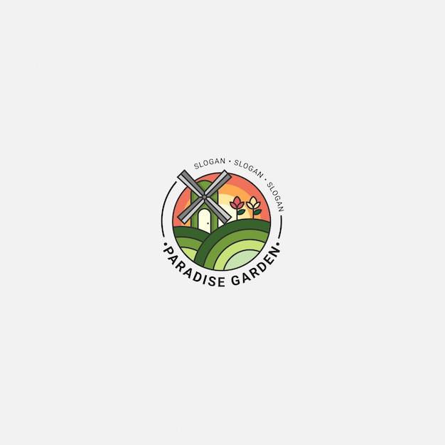 Icona logo agricoltura con linea audace fulcolor Vettore Premium