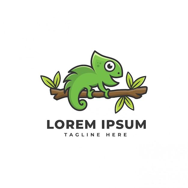 Icona logo camaleonte Vettore Premium