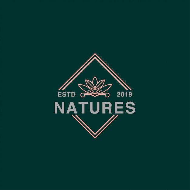 Icona logo di loto nel badge Vettore Premium