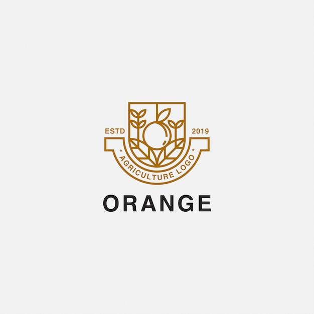 Icona logo distintivo con pianta e arancio Vettore Premium