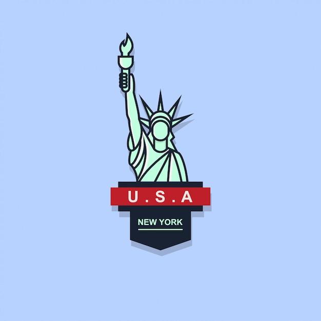 Icona logo distintivo della libertà Vettore Premium