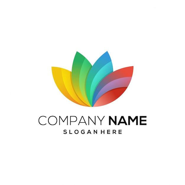 Icona logo full color lotus Vettore Premium