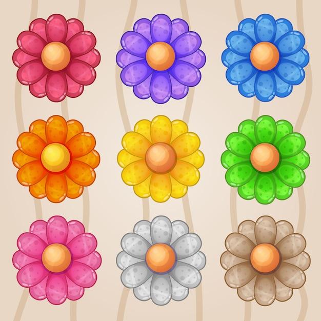 Icona logo gradiente fiore botanica. Vettore Premium