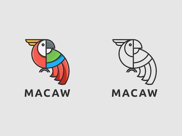 Icona logo macaw uccello con semplice Vettore Premium