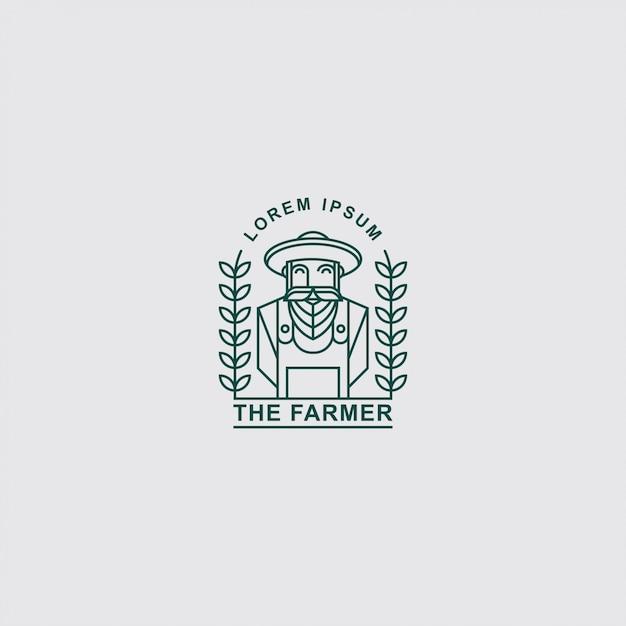 Icona logo vecchio contadino con line art Vettore Premium