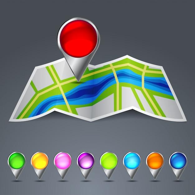 Icona mappa vettoriale della città Vettore Premium