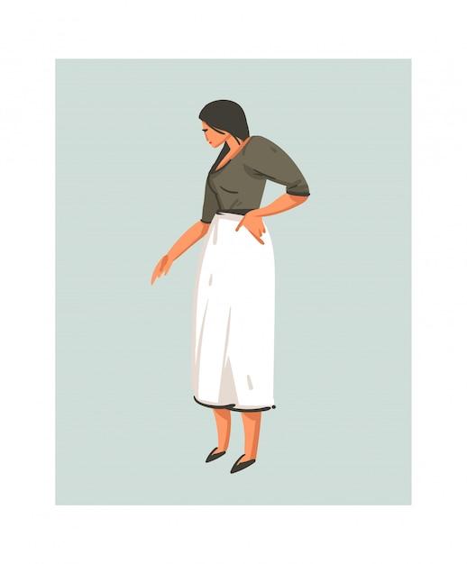Icona moderna disegnata a mano delle illustrazioni di tempo di cottura del fumetto con la cottura della donna del cuoco unico in grembiule bianco su fondo bianco cibo che cucina concetto delle illustrazioni Vettore Premium