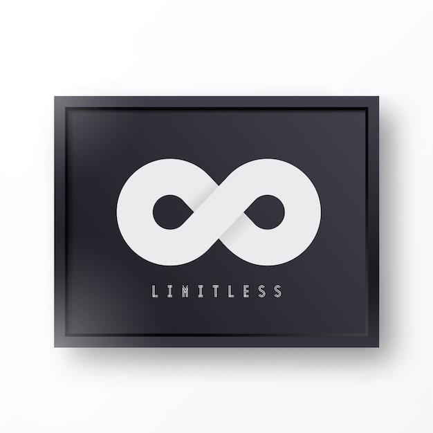 Icona o logo astratta senza limiti di simbolo nel telaio realistico nero alla moda con le ombre e il fondo Vettore Premium