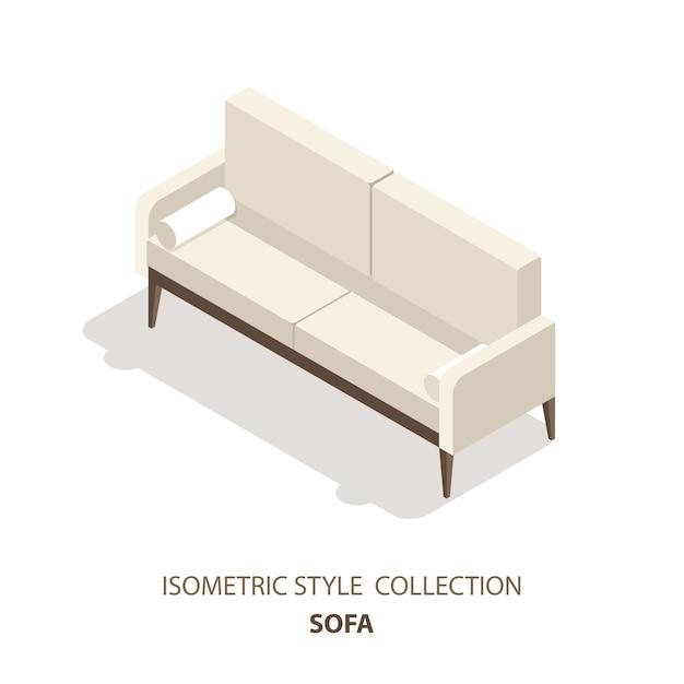 Icona o logo in stile scandinavo del divano. illustrazione 3d del sofà. mobili isometrici. Vettore Premium
