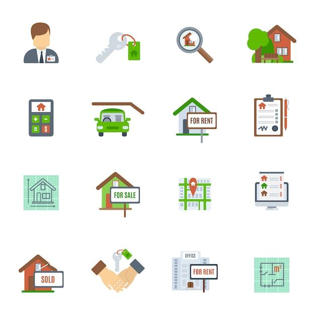 Icona piana di beni immobili Vettore gratuito