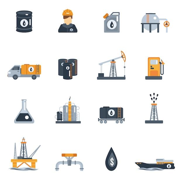 Icona piana di industria petrolifera Vettore gratuito