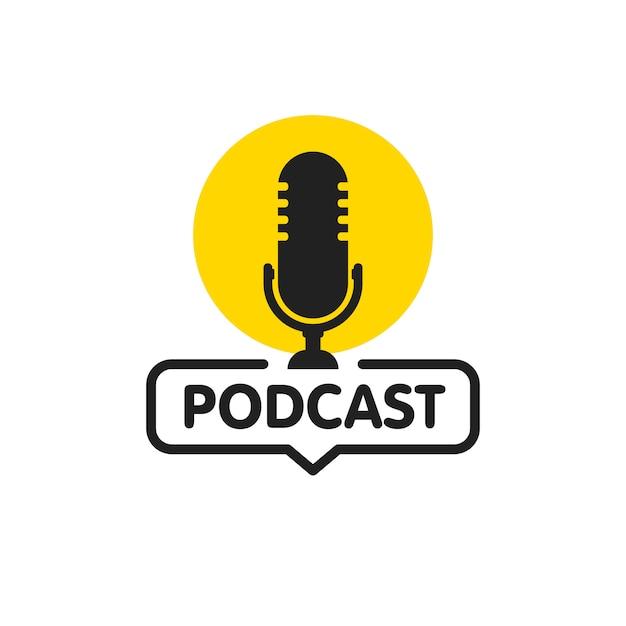 Icona piana di podcast Vettore Premium