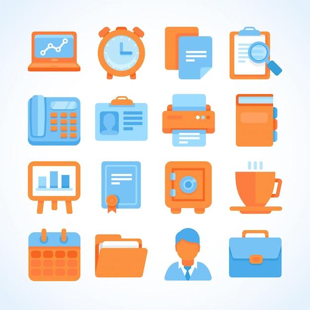 Icona piana di vettore imposta simboli ufficio e business Vettore Premium