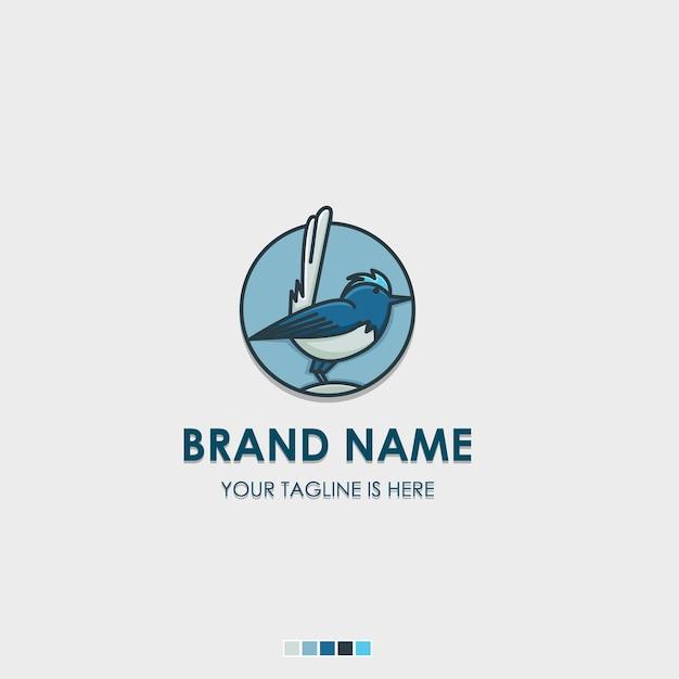 Icona piana logo uccello fata degli uccelli Vettore Premium