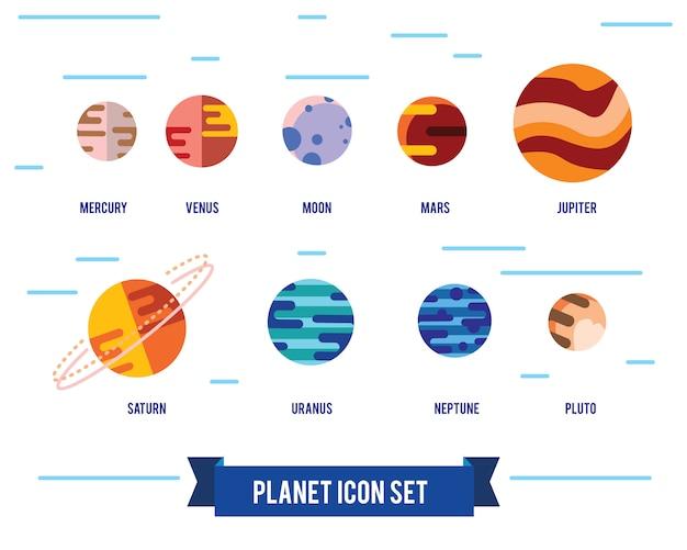Icona piana set di pianeti del sistema solare, sole e luna su sfondo spazio buio. Vettore gratuito