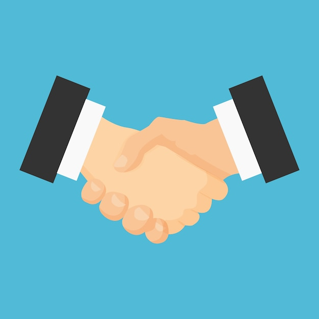 Icona piatta stretta di mano. accordo di riunione. Vettore Premium