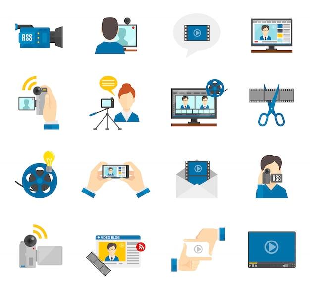 Icona piatta video blog Vettore gratuito