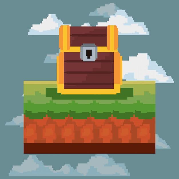 Icona pixelata e videogioco Vettore Premium