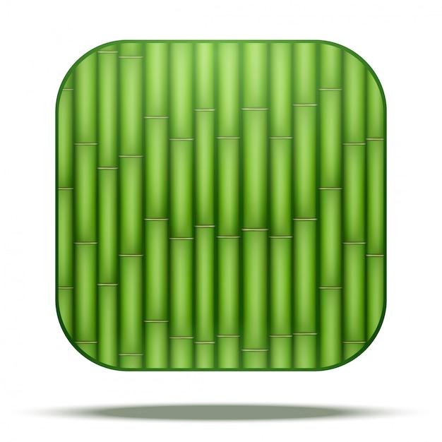 Icona quadrata di bambù Vettore Premium