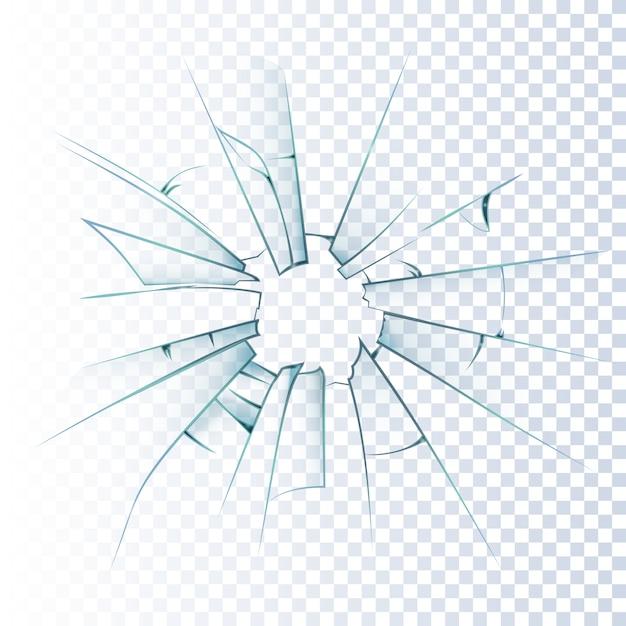 Icona realistica di vetro smerigliato rotto Vettore gratuito