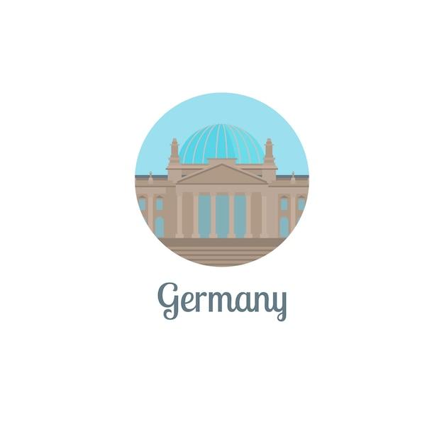 Icona rotonda isolata punto di riferimento della germania Vettore Premium