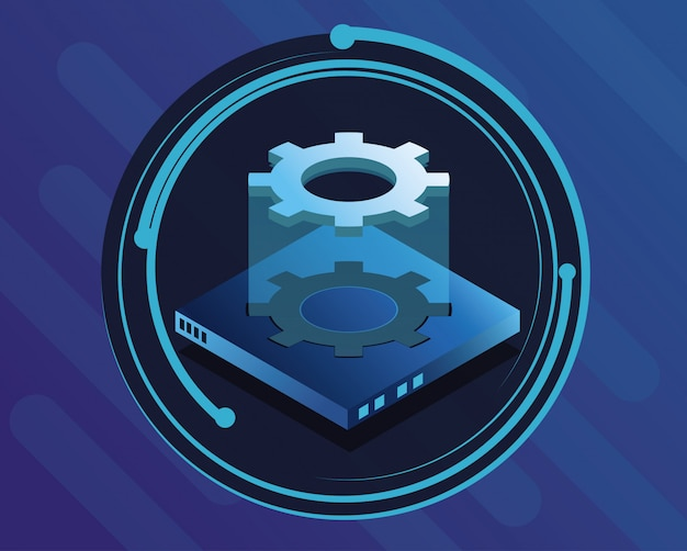 Icona rotonda tecnologia digitale blu Vettore Premium