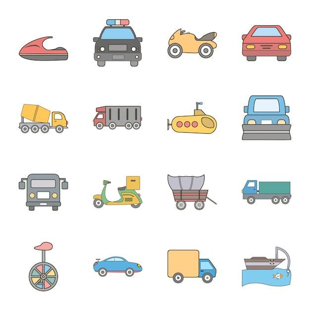 Icona set di trasporto Vettore Premium