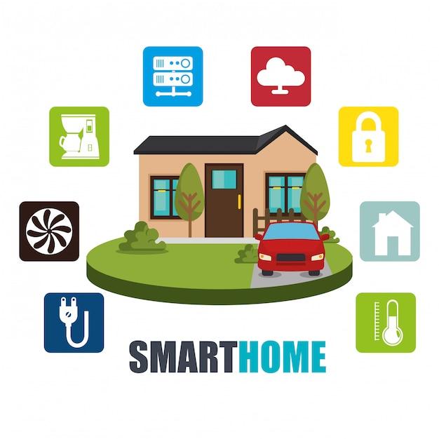 Icona set tecnologia casa intelligente Vettore gratuito