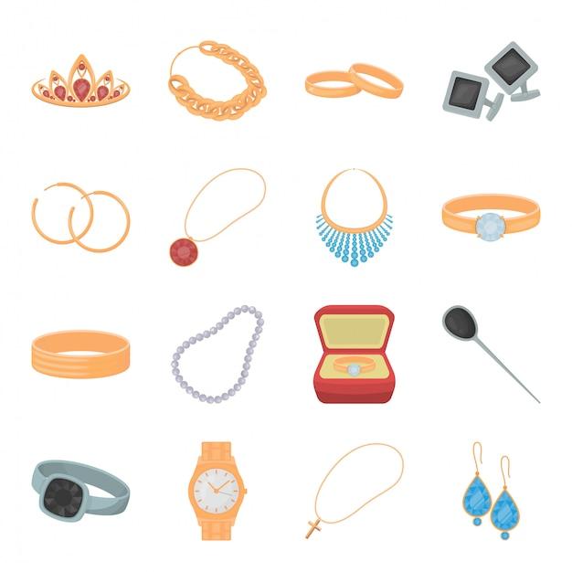 Icona stabilita del fumetto dei gioielli. gioielli di moda illustrazione. set di gioielli isolato icona gioielli in oro. Vettore Premium