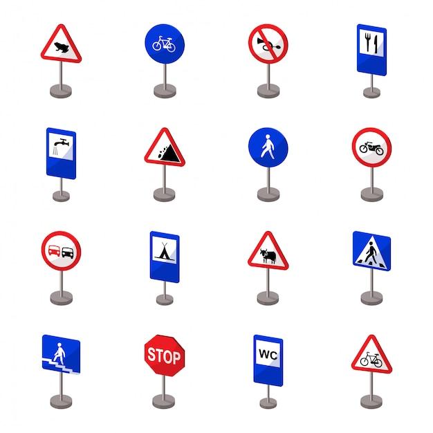 Icona stabilita del fumetto del segnale stradale icona stabilita del fumetto isolata freccia. segnale stradale dell'illustrazione. Vettore Premium
