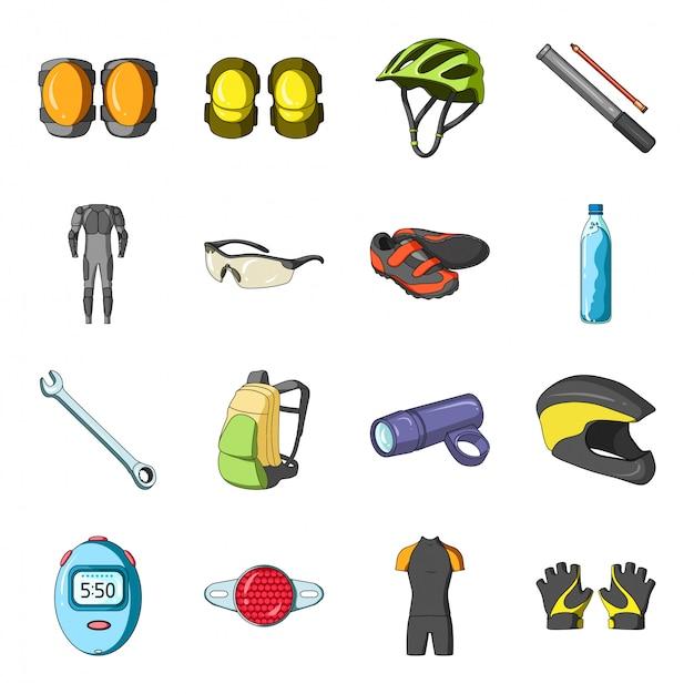 Icona stabilita del fumetto della bici dell'attrezzatura. sport ciclistico. bici stabilita isolata dell'attrezzatura dell'icona del fumetto. Vettore Premium