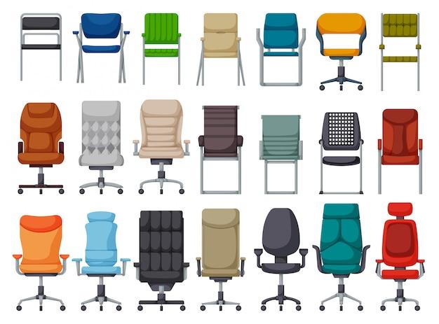 Icona stabilita del fumetto della sedia dell'ufficio. poltrona illustrazione su sfondo bianco. cartoon set icon sedia da ufficio. Vettore Premium