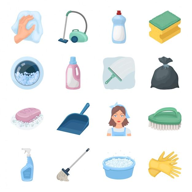 Icona stabilita del fumetto di pulizia e domestica. icona stabilita del fumetto isolata servizio più pulito. pulizia e pulizia dell'illustrazione. Vettore Premium