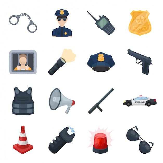 Icona stabilita del fumetto di zona di polizia icona stabilita del fumetto isolata di sicurezza. polizia di illustrazione. Vettore Premium