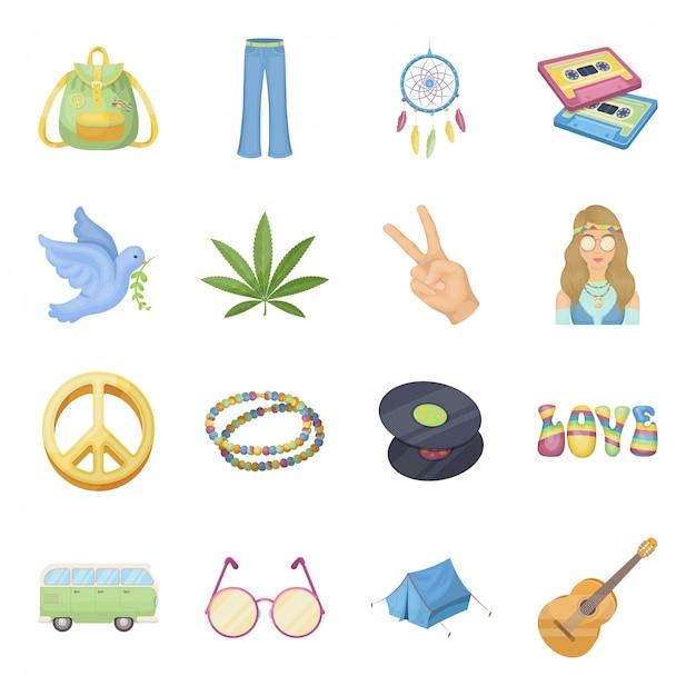 Icona stabilita felice e fumetto. icona stabilita del fumetto di pace del fiore e di amore. vacanze di pasqua . Vettore Premium