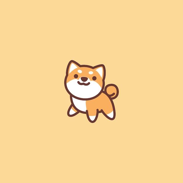 Icona sveglia del fumetto del cane di shiba inu Vettore Premium