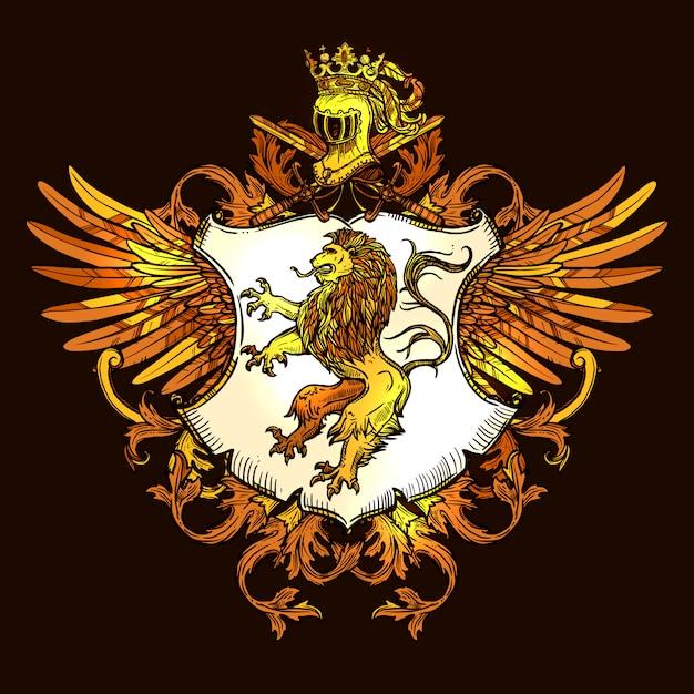 Icona variopinta emblema reale araldico classico Vettore Premium
