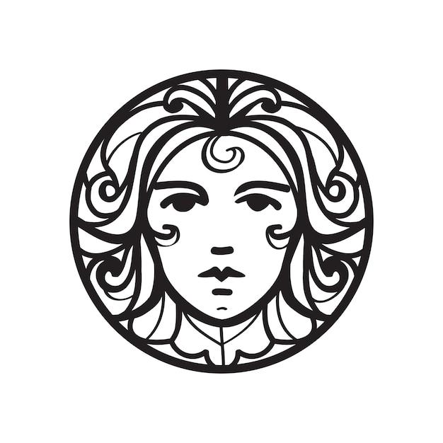 Icona volto femminile Vettore Premium