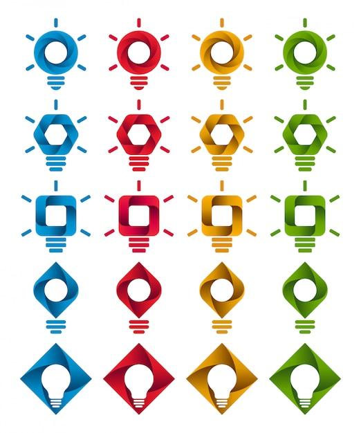 Icone a spirale infografica lampadina Vettore Premium