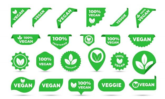 Icone adesivi per tag vegan Vettore Premium