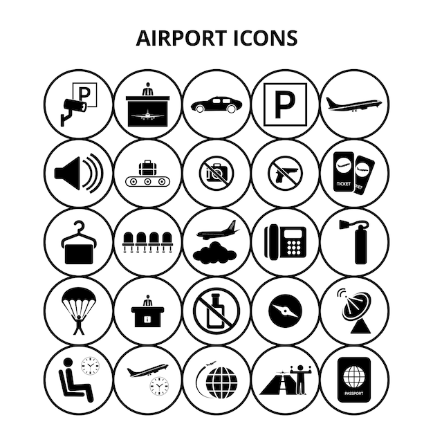 Icone aeroportuali Vettore gratuito