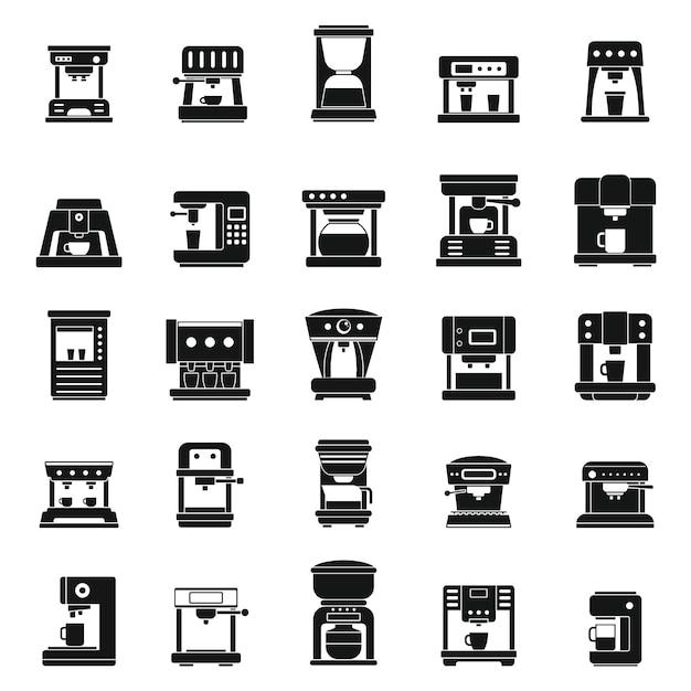 Icone americane della macchina da caffè messe, stile semplice Vettore Premium