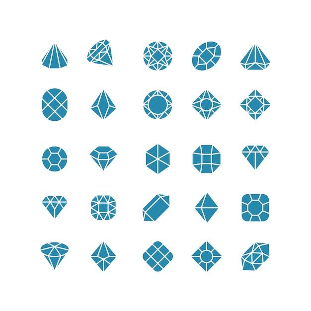 Icone astratte del diamante. costosi simboli vettoriali di gioielli Vettore Premium