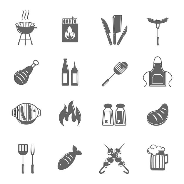 Icone barbecue Vettore gratuito