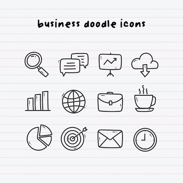 Icone business doodle su paperline Vettore Premium