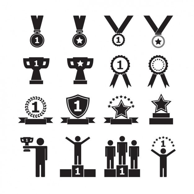 Icone collezione di trofei Vettore gratuito