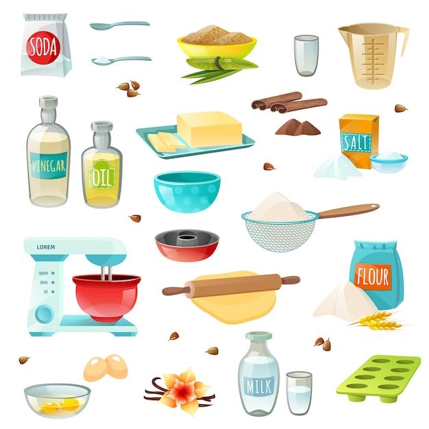 Icone colorate di ingredienti di cottura Vettore gratuito