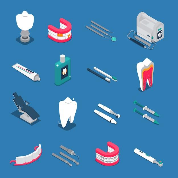 Icone colorate isometriche di stomatologia Vettore gratuito
