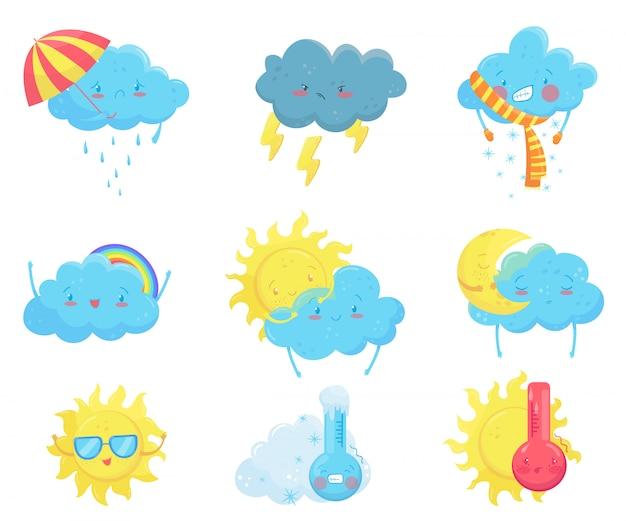 Icone colorate previsioni del tempo. sole e nuvole divertenti del fumetto. volti adorabili con varie emozioni. appartamento per app per dispositivi mobili, adesivo per social network, libro per bambini o stampa Vettore Premium
